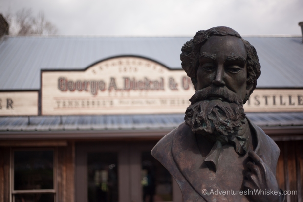 A bust of George Dickel in front of the Visitor's Center.
