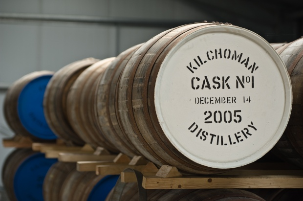 Cask No. 1 in the warehouse at Kilchoman Distillery. Photo courtesy of Kilchoman.
