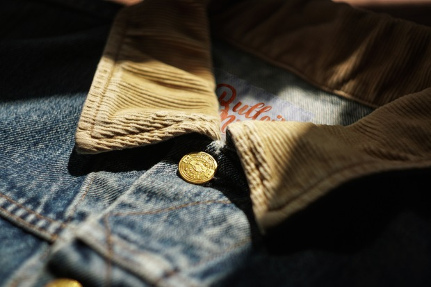 A close view of the new denim jacket from Noble Denim and Bulleit bourbon. Photo courtesy of Noble Denim.