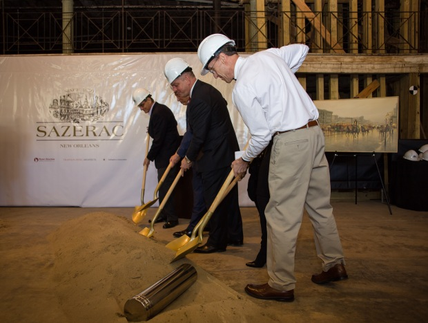 Right to left: Jeffrey Goldring, Bill Goldring, Louisiana Governor John Bel Edwards, and Mark Brown break the ground, so to speak